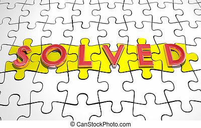 woord, raadsel, oplossing, illustratie, stukken, opgeloste, 3d