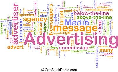 woord, reclame, wolk