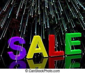 woord, reducties, het tonen, vuurwerk, verkoop, korting, bevordering, prijs
