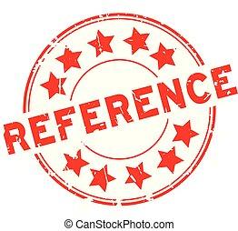 woord, referentie, postzegel, rubber, achtergrond, zeehondje, grunge, ster, witte , ronde, rood, pictogram