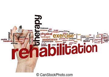 woord, rehabilitatie, wolk
