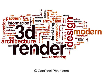 woord, render, wolk, 3d