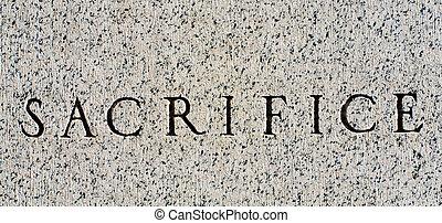 "woord, ""sacrifice"", gekerfde, in, grijs, graniet, steen"