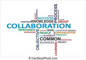 woord, samenwerking, -, wolk