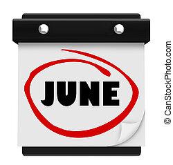 woord, schema, muur, juni, maand, kalender, veranderen