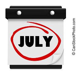 woord, schema, muur, maand, juli, kalender, veranderen