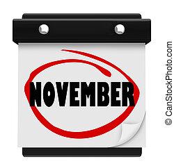 woord, schema, muur, maand, november, kalender, veranderen