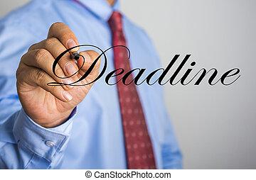 woord, scherm, feitelijk, schrijvende , deadline, zakenman