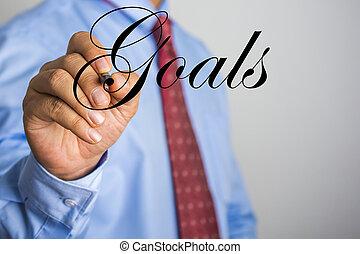 woord, scherm, feitelijk, schrijvende , doelen, zakenman
