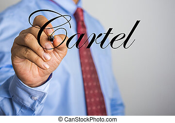woord, scherm, feitelijk, schrijvende , zakenman, cartel