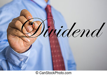 woord, scherm, feitelijk, schrijvende , zakenman, dividend