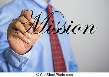woord, scherm, missie, feitelijk, schrijvende , zakenman