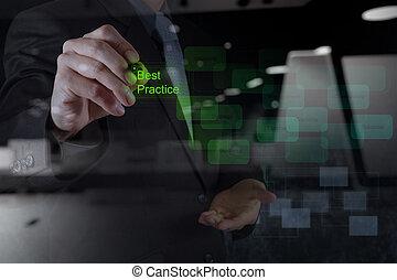 woord, scherm, praktijk, feitelijk, hand, zakenman, best, optredens