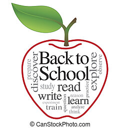 woord, school, back, wolk, appel