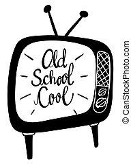 woord, school, oud, uitdrukking, koel