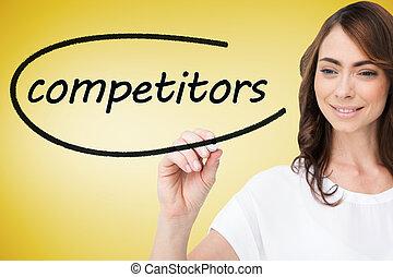 woord, schrijvende , concurrenten, businesswoman
