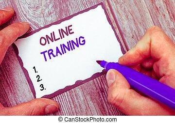 woord, schrijvende , tekst, online, training., handel concept, voor, nemen, de, opleiding, programma, van, de, elektronisch, middelen