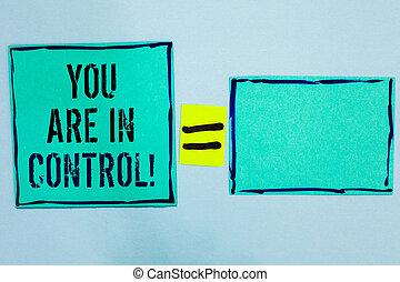 woord, schrijvende , tekst, u, zijn, in, control., handel concept, voor, verantwoordelijkheidsgevoel, op, een, toestand, management, autoriteit, black , lined, groene, kleverige aantekeningen, leeg, en, met, woorden, midden, gelijke, mark.