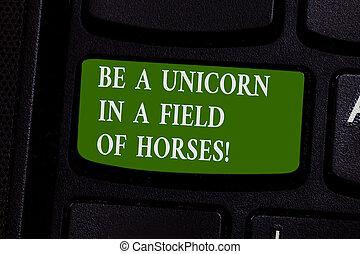 woord, schrijvende , tekst, zijn, een, eenhoorn, in, een, akker, van, horses., handel concept, voor, maken, de, verschil, wezen, bijzondere , toetsenbord, klee, intention, te creëren, computer boodschap, dringend, toetsenpaneel, idea.