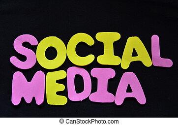 woord, sociaal, media