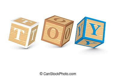 woord, speelbal, geschreven, met, blokjes