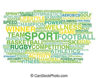 woord, sport., concept, soorten, wolk