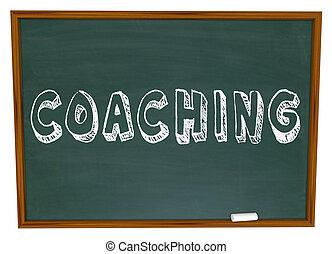 woord, sporten, coachend, chalkboard, leren, onderwijs, opleiding