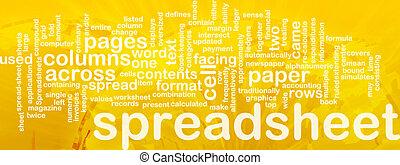 woord, spreadsheet, wolk