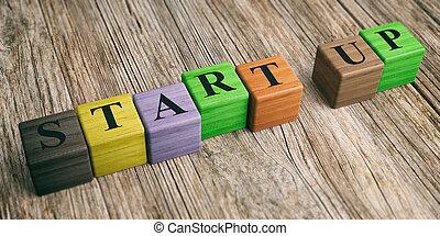 woord, start, op, houten, blocks., 3d, illustratie