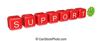 woord, steun, geschreven, met, een, rood, alfabet, cubes.