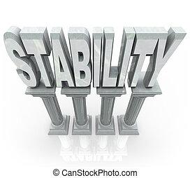 woord, steun, stabiliteit, betrouwbaar, sterke, kolommen