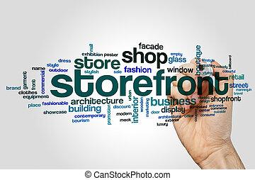 woord, storefront, wolk