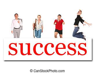 woord, succes, mensen, collage, verhuizing, plank