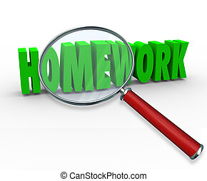 woord, taak, plan, glas, les, vergroten, huiswerk