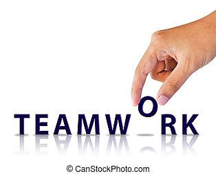 woord, teamwork, hand
