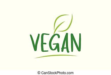 woord, tekst, groene, vegan, blad, ontwerp, logo, pictogram