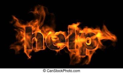 woord, text., helpen, burning