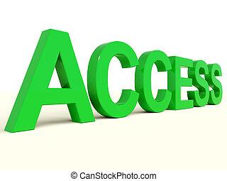 woord, toelating, het tonen, toegang, groene, veiligheid