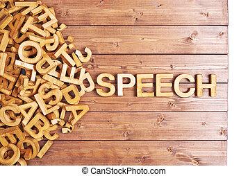 woord, toespraak, gemaakt, met, houten, brieven