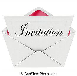 woord, uitgenodigde, enveloppe, uitnodiging, feestje,...