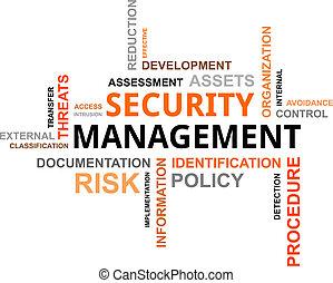 woord, veiligheid, management, -, wolk