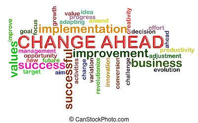 woord, veranderen, vooruit, markeringen