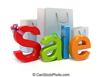 woord, verkoop, met, kleurrijke, brieven