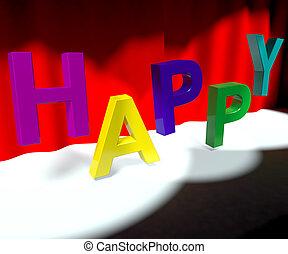 woord, vreugde, betekenis, plezier, toneel, geluk, vrolijke