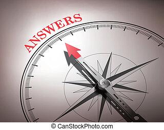 woord, wijzende, abstract, naald, antwoorden, kompas