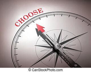 woord, wijzende, abstract, naald, kiezen, kompas