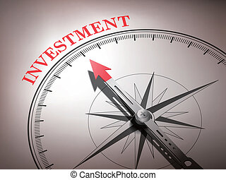 woord, wijzende, abstract, naald, kompas, investering
