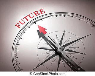 woord, wijzende, abstract, naald, toekomst, kompas