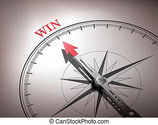 woord, wijzende, winnen, abstract, naald, kompas