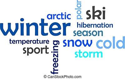 woord, -, winter, wolk